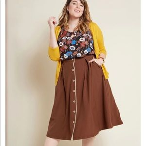 ModCloth Button Front Brown Pockets Swing Skirt